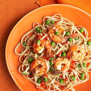 Whole-Wheat Fettuccine With Shrimp & Peas