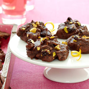 Chocolate Drops With Pistachios and Cherries