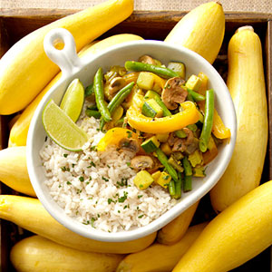 Curried Summer Vegetable Medley With Coconut Rice