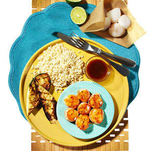 Hoisin-Glazed Scallops With Grilled Zucchini