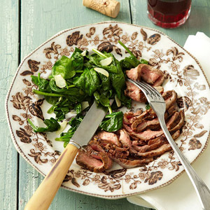 Balsamic-Dijon Flank Steak With Sauteed Spinach