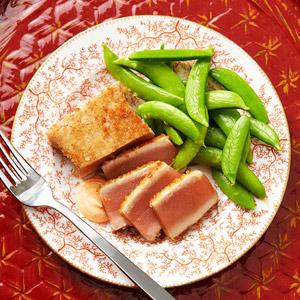 Panko-Crusted Tuna with Orange-Ginger-Glazed Snap Peas