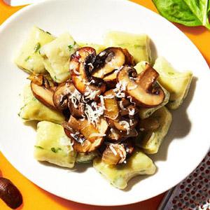 Basil Gnocchi With Mushroom Ragu