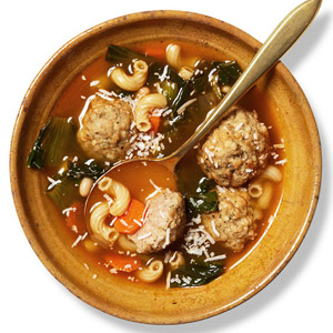 Minestrone With Turkey Meatballs and Escarole