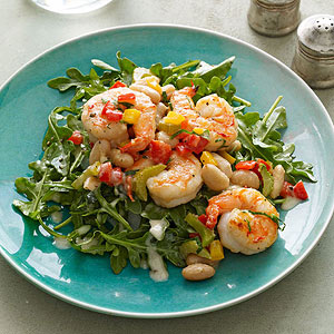 Lemony Arugula with Warm Shrimp and White Beans