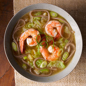 Buckwheat Noodle Soup with Shrimp and Scallions