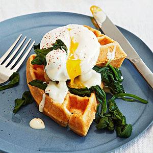 Eggs Florentine over Cornmeal Waffles