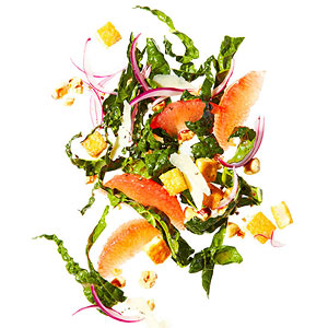 Kale, Grapefruit and Hazelnut Salad with Tofu Croutons