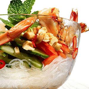 Thai Noodle Bowls with Grilled Shrimp