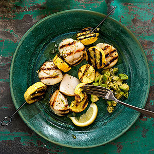 Grilled Scallop and Summer Squash Kebabs