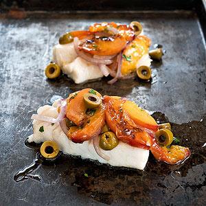 Roasted Cod with Stone Fruit Salad