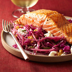 Pan-Seared Salmon with Warm Winter Slaw