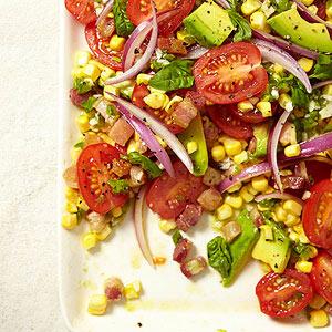 Tomato, Corn and Avocado Salad with Spicy Vinaigrette