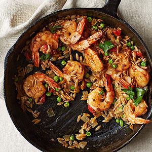 Speedy Shrimp and Orzo Paella
