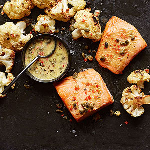 Roasted Salmon and Cauliflower with Caper Vinaigrette