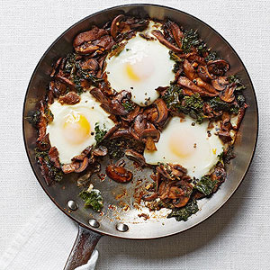 Mushroom-and-Kale Ragout with Poached Eggs