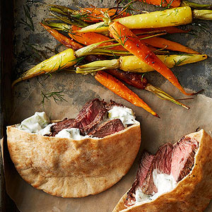 Steak-and-Tzatziki Sandwiches with Roasted Carrots and Dill