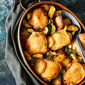 Roasted Chicken Thighs with Potatoes, Zucchini and Olives