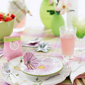 pink and green floral place setting