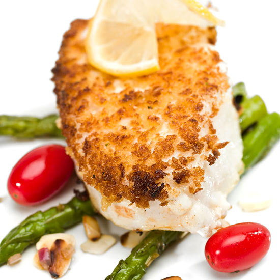 Poached Chilean Sea Bass with Garlicky Bread Crumbs