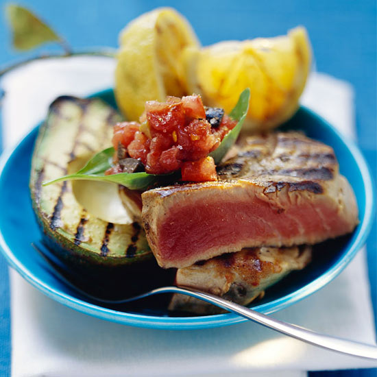 Grilled Yellowfin Tuna with Red Pepper Relish