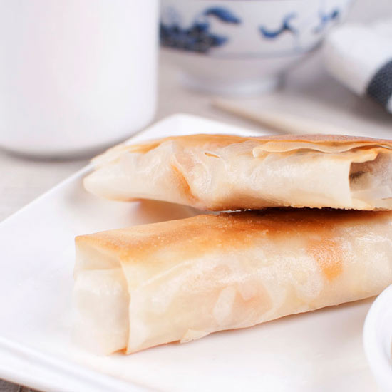Peach and White Chocolate Spring Rolls