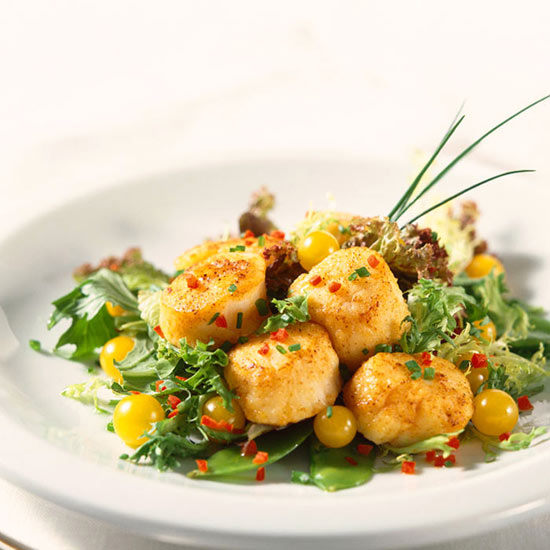 Seared Scallops with Orange Sauce and Broccoli-Cauliflower Saute