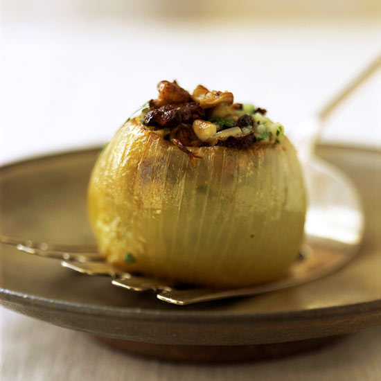 Baked Onions Stuffed with Kale and Wild Rice