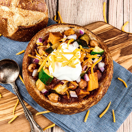 Bread Bowl Veggie Chili with Sweet Potatoes, Cheddar, Zucchini and Chickpeas