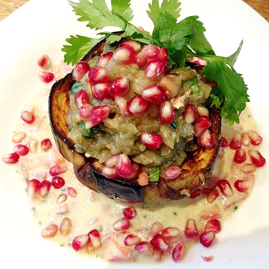 Stuffed Eggplant with Pomegranate Seeds