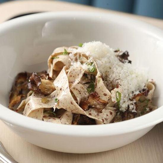 Quinoa Pasta with Beet Greens, Maitake Mushrooms and Sunflower Kernels