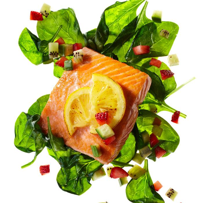 Roasted Salmon Salad with Honey Mustard Vinaigrette