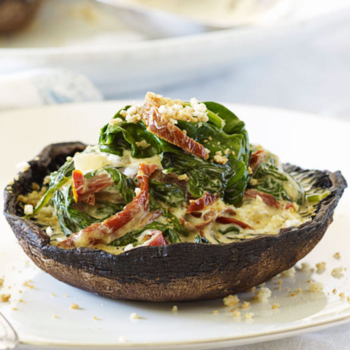 Grilled Portobello Mushrooms with Artichoke Puree and Roasted-Corn and Tomato Topping