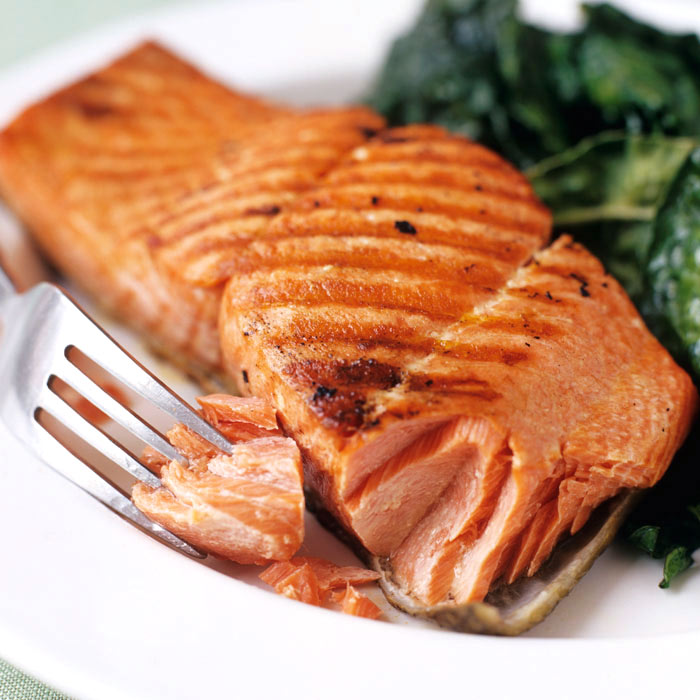 Gingered Salmon with Quinoa and Swiss Chard