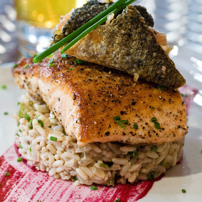 Parmesan-Crusted Trout with Red Pepper Orzo