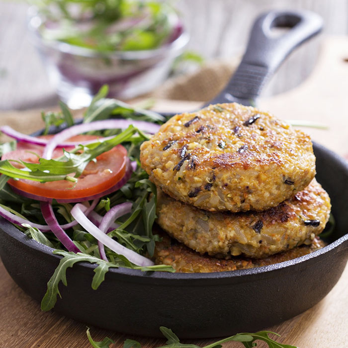 Bulgur-Vegetable Burgers with Tahini Slaw