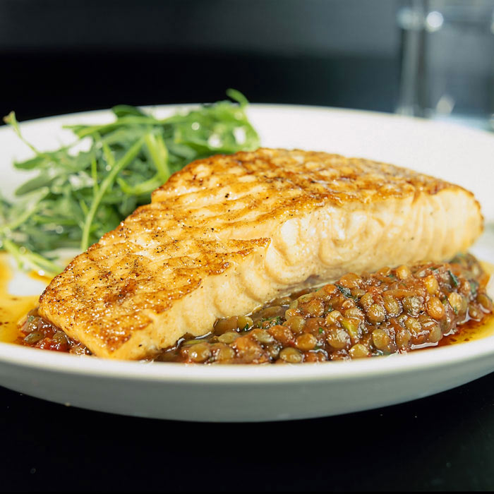 Henry Meer's Mustard Baked Salmon with Lentils