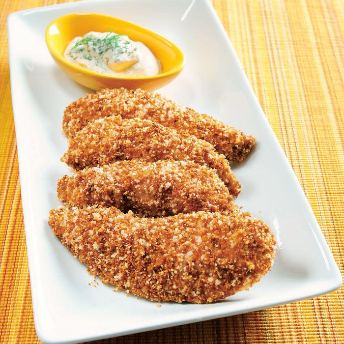 Pecan-Crusted Chicken Tenders with Yogurt Dill Dip