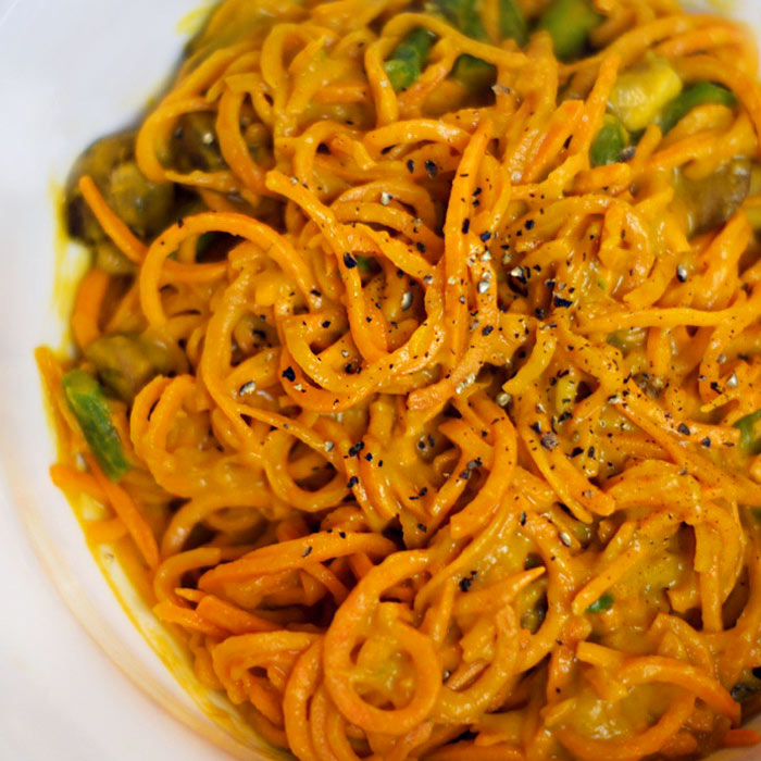 Sweet Potato Noodles with Roasted Red Pepper Cream Sauce