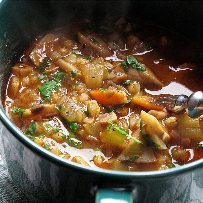 Eastern European-Style Mushroom and Buckwheat Soup
