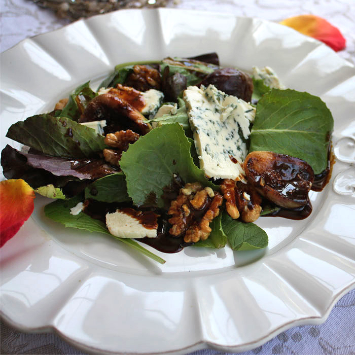 Roasted Fig and Blue Cheese Salad with Candied Walnuts and Dijon Balsamic Vinaigrette