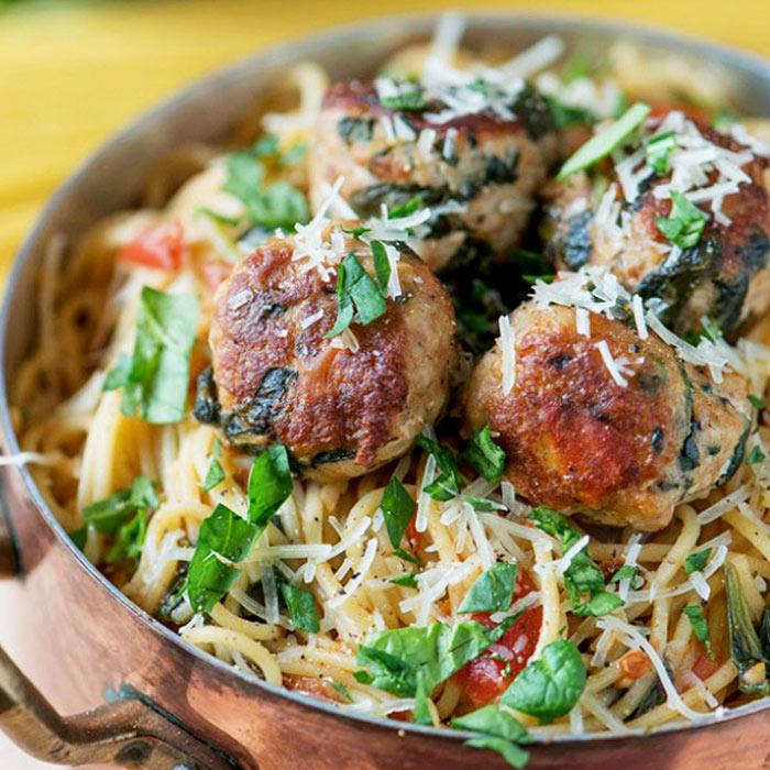 Spinach Turkey Meatball Pasta