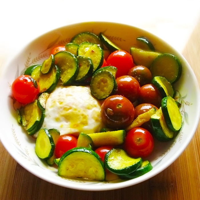 Sauteed Zucchini and Cherry Tomatoes with Pan-Fried Pastured Eggs