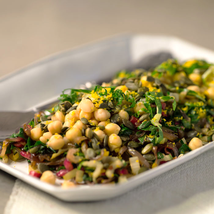 Swiss Chard and Orange Garbanzo Bean Saute