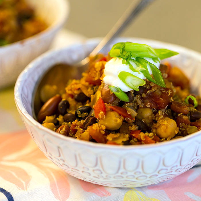 Healthy 3-Bean and Quinoa Chili