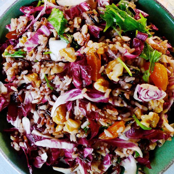 Wild Rice Salad with Radicchio, Apricots, and Walnuts
