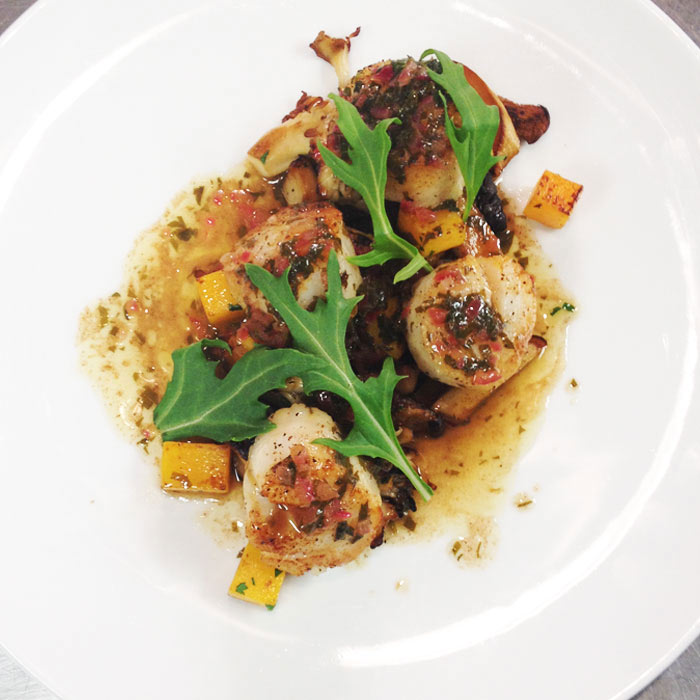 Seared Scallops with Wild Mushrooms, Butternut Squash, and Citrus-Soy Sauce