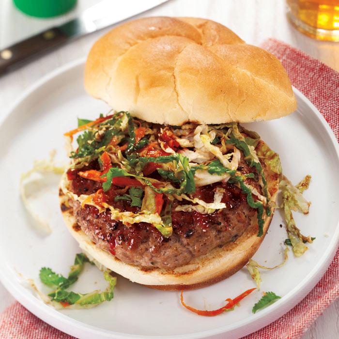 Char Siu Pork Burger with Cilantro Asian Slaw