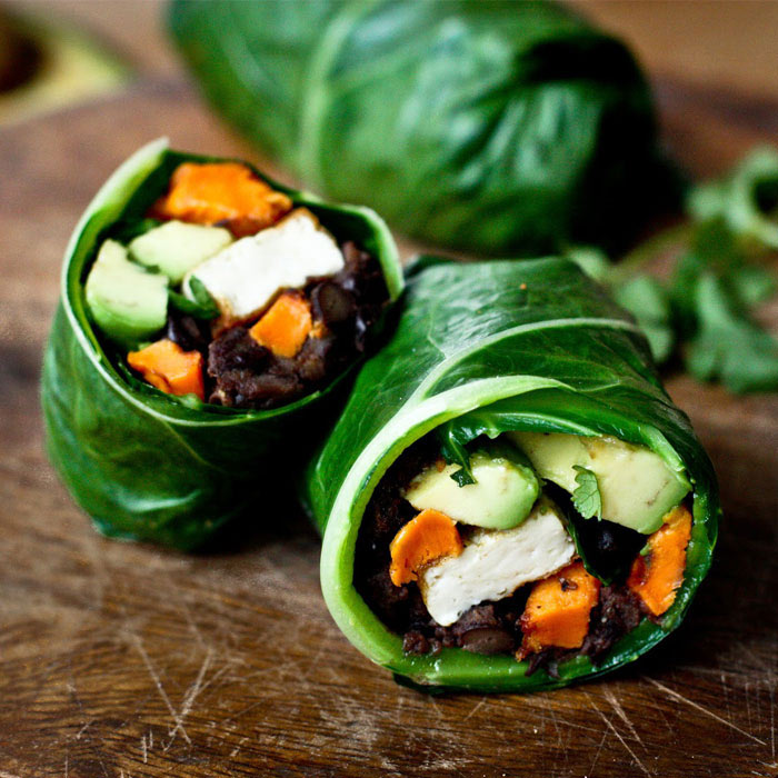 Collard Green Wraps with Roasted Yams and Chipotle Black Beans