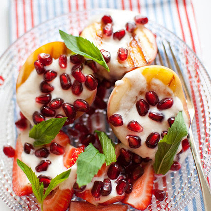Pomegranate and Grilled Peach Summer Dessert